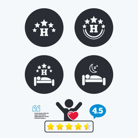 five star: Five stars hotel icons. Travel rest place symbols. Human sleep in bed sign. Star vote ranking. Client like and think bubble. Quotes with message.