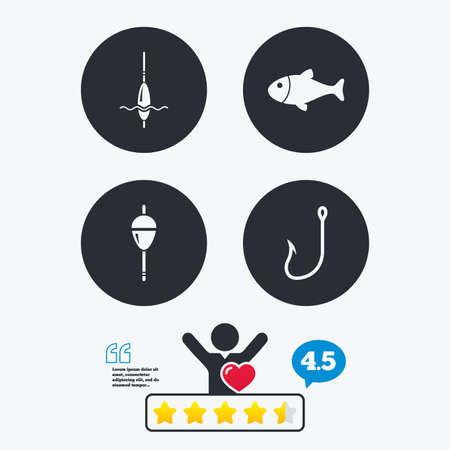 Fishing icons. Fish with fishermen hook sign. Float bobber symbol. Star vote ranking. Client like and think bubble. Quotes with message. Illustration