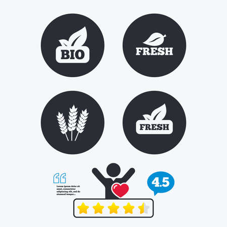 free vote: Natural fresh Bio food icons. Gluten free agricultural sign symbol. Star vote ranking. Client like and think bubble. Quotes with message. Illustration