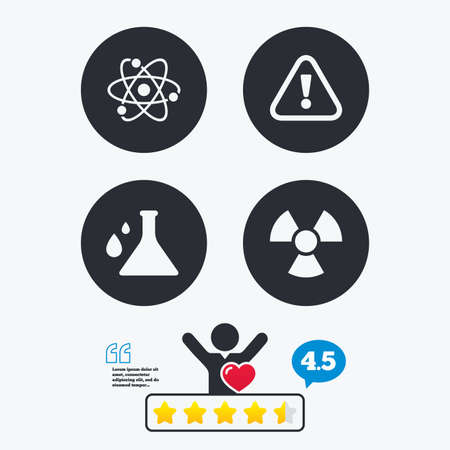 caution chemistry: Attention and radiation icons. Chemistry flask sign. Atom symbol. Star vote ranking. Client like and think bubble. Quotes with message. Illustration