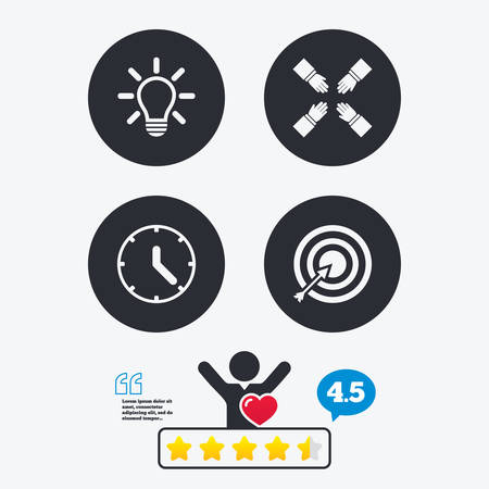 set the intention: Lamp idea and clock time icons. Target aim sign. Darts board with arrow. Teamwork symbol. Star vote ranking. Client like and think bubble. Quotes with message.