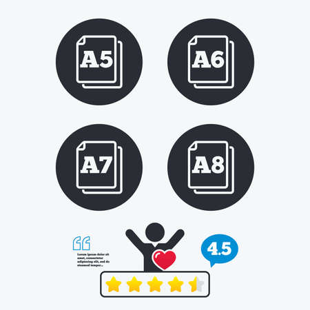 Paper size standard icons. Document symbols. A5, A6, A7 and A8 page signs. Star vote ranking. Client like and think bubble. Quotes with message. Illustration