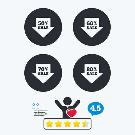 50 to 60: Sale arrow tag icons. Discount special offer symbols. 50%, 60%, 70% and 80% percent sale signs. Star vote ranking. Client like and think bubble. Quotes with message. Illustration