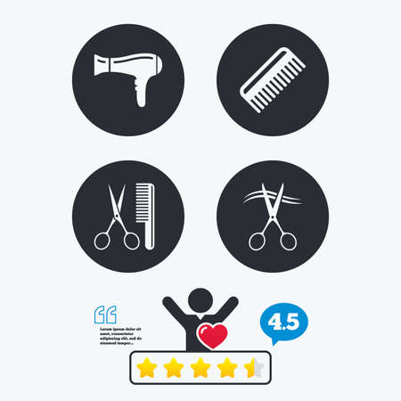 hairstyling: Hairdresser icons. Scissors cut hair symbol. Comb hair with hairdryer sign. Star vote ranking. Client like and think bubble. Quotes with message.