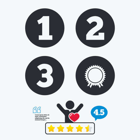 medal like: First, second and third place icons. Award medal sign symbol. Star vote ranking. Client like and think bubble. Quotes with message.