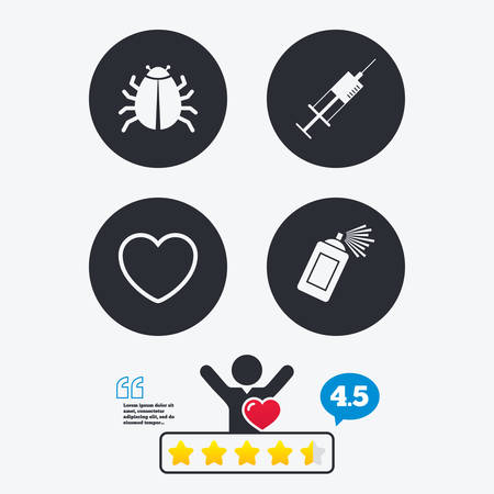 syringe injection: Bug and vaccine syringe injection icons. Heart and spray can sign symbols. Star vote ranking. Client like and think bubble. Quotes with message. Illustration