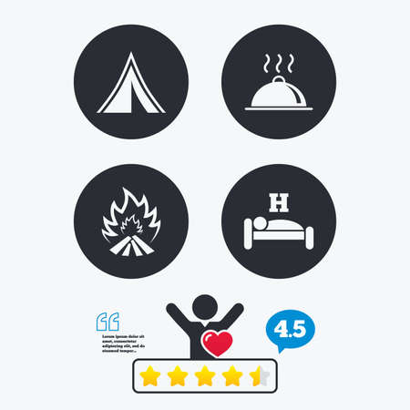 breakfast in bed: Hot food, sleep, camping tent and fire icons. Hotel or bed and breakfast. Road signs. Star vote ranking. Client like and think bubble. Quotes with message.