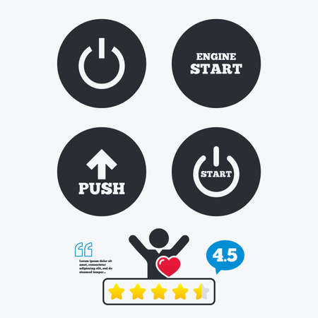 star power: Power icons. Start engine symbol. Push or Press arrow sign. Star vote ranking. Client like and think bubble. Quotes with message. Illustration
