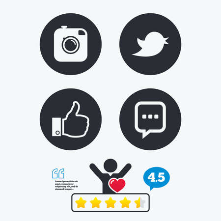 chat up: Hipster photo camera icon. Like and Chat speech bubble sign. Hand thumb up. Bird symbol. Star vote ranking. Client like and think bubble. Quotes with message. Illustration