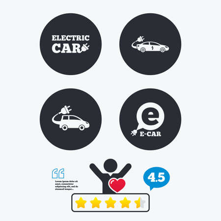 energy ranking: Electric car icons. Sedan and Hatchback transport symbols. Eco fuel vehicles signs. Star vote ranking. Client like and think bubble. Quotes with message.