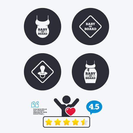 big belly: Baby on board icons. Infant caution signs. Child pacifier nipple. Pregnant woman dress with big belly. Star vote ranking. Client like and think bubble. Quotes with message.