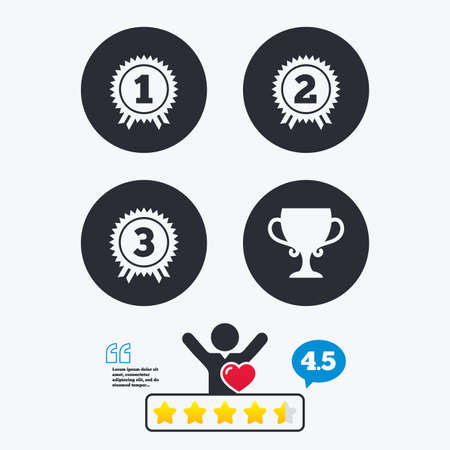 medal like: First, second and third place icons. Award medals sign symbols. Prize cup for winner. Star vote ranking. Client like and think bubble. Quotes with message.