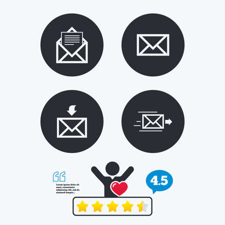outbox: Mail envelope icons. Message document delivery symbol. Post office letter signs. Inbox and outbox message icons. Star vote ranking. Client like and think bubble. Quotes with message. Illustration