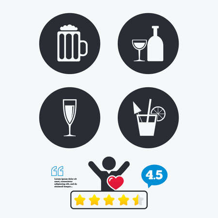 sparkling wine: Alcoholic drinks icons. Champagne sparkling wine and beer symbols. Wine glass and cocktail signs. Star vote ranking. Client like and think bubble. Quotes with message.