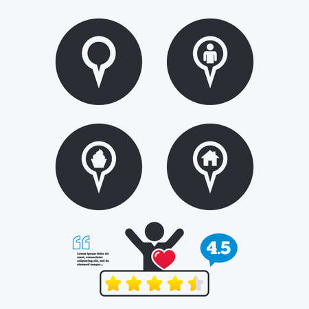 vote here: Map circle pointer icons. Home, food and user location symbols. Restaurant and cupcake signs. You are here. Star vote ranking. Client like and think bubble. Quotes with message. Illustration