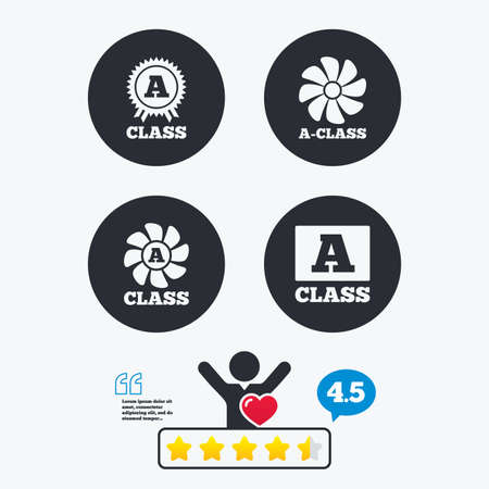 energy classification: A-class award icon. A-class ventilation sign. Premium level symbols. Star vote ranking. Client like and think bubble. Quotes with message.