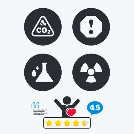 danger carbon dioxide  co2  labels: Attention and radiation icons. Chemistry flask sign. CO2 carbon dioxide symbol. Star vote ranking. Client like and think bubble. Quotes with message.