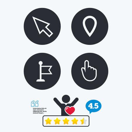 position d amour: Curseur de la souris l'icône. Main ou un drapeau symboles de pointeur. Carte signe emplacement du marqueur. classement vote étoiles. Client comme et pense bulle. Citations avec le message. Illustration