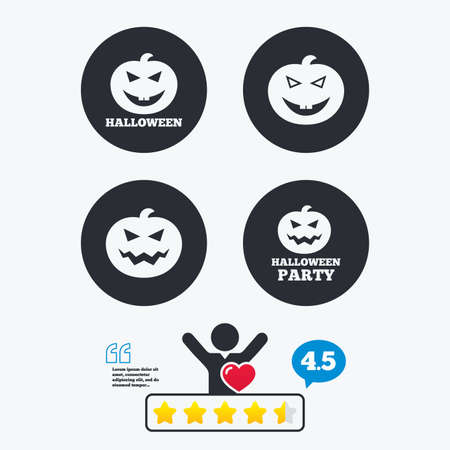 hallows': Halloween pumpkin icons. Halloween party sign symbol. All Hallows Day celebration. Star vote ranking. Client like and think bubble. Quotes with message.