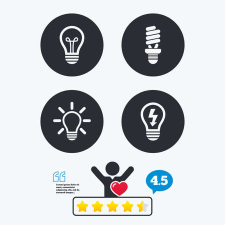 energy ranking: Light lamp icons. Fluorescent lamp bulb symbols. Energy saving. Idea and success sign. Star vote ranking. Client like and think bubble. Quotes with message.