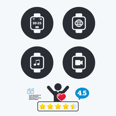 www arm: Smart watch icons. Wrist digital time watch symbols. Music, Video, Globe internet and wi-fi signs. Star vote ranking. Client like and think bubble. Quotes with message.