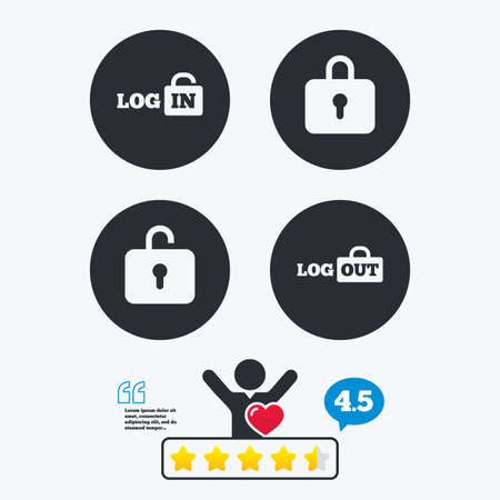 lock out: Login and Logout icons. Sign in or Sign out symbols. Lock icon. Star vote ranking. Client like and think bubble. Quotes with message.