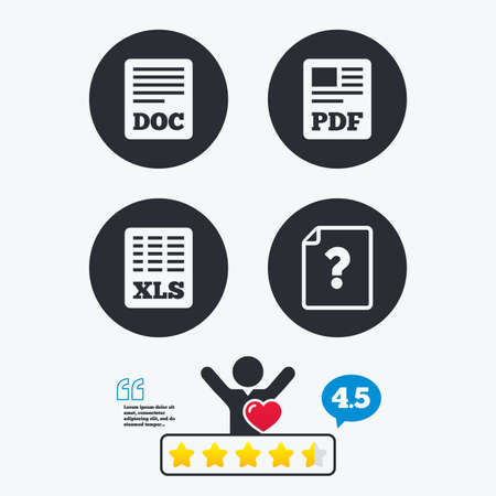File document and question icons. XLS, PDF and DOC file symbols. Download or save doc signs. Star vote ranking. Client like and think bubble. Quotes with message.