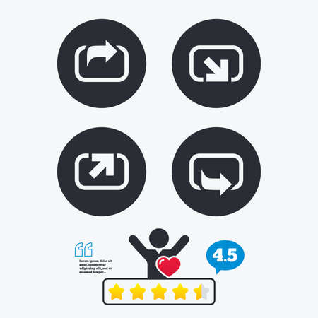 forward arrow: Action icons. Share symbols. Send forward arrow signs. Star vote ranking. Client like and think bubble. Quotes with message. Illustration