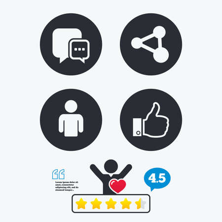 chat up: Social media icons. Chat speech bubble and Share link symbols. Like thumb up finger sign. Human person profile. Star vote ranking. Client like and think bubble. Quotes with message.