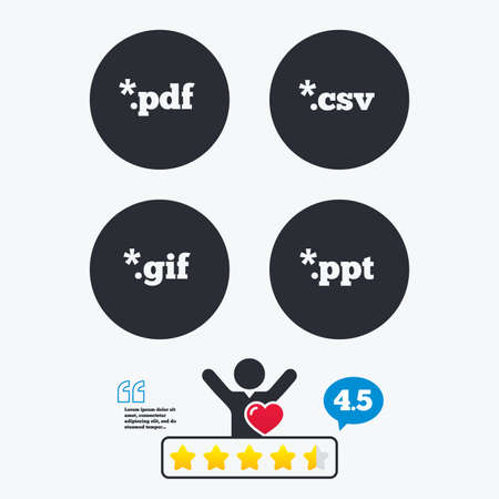 Document icons. File extensions symbols. PDF, GIF, CSV and PPT presentation signs. Star vote ranking. Client like and think bubble. Quotes with message.