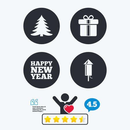 happy client: Happy new year icon. Christmas tree and gift box signs. Fireworks rocket symbol. Star vote ranking. Client like and think bubble. Quotes with message.