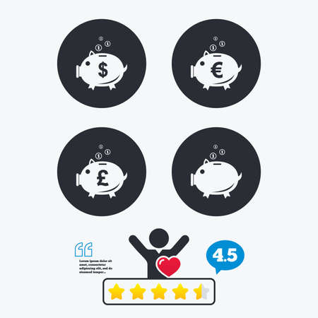 pound coin: Piggy bank icons. Dollar, Euro and Pound moneybox signs. Cash coin money symbols. Star vote ranking. Client like and think bubble. Quotes with message. Illustration