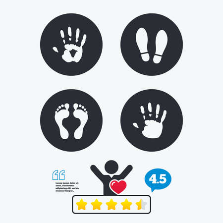 do not enter sign: Hand and foot print icons. Imprint shoes and barefoot symbols. Stop do not enter sign. Star vote ranking. Client like and think bubble. Quotes with message.