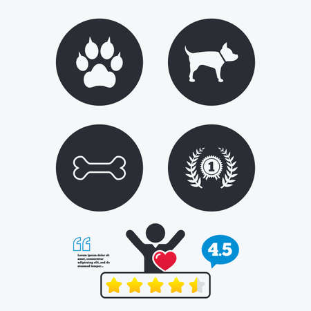 clutches: Pets icons. Cat paw with clutches sign. Winner laurel wreath and medal symbol. Pets food. Star vote ranking. Client like and think bubble. Quotes with message.