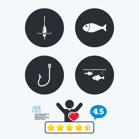 fisherman: Fishing icons. Fish with fishermen hook sign. Float bobber symbol. Star vote ranking. Client like and think bubble. Quotes with message. Illustration