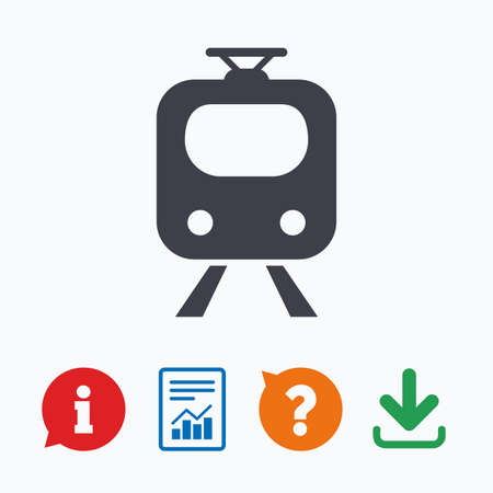 underground: Subway sign icon. Train, underground symbol. Information think bubble, question mark, download and report.