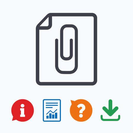 report icon: File annex icon. Paper clip symbol. Attach symbol. Information think bubble, question mark, download and report.