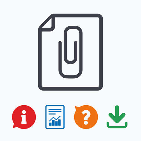 File annex icon. Paper clip symbol. Attach symbol. Information think bubble, question mark, download and report.