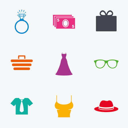 t shirt blue: Accessories, clothes icons. Shirt with tie, glasses signs. Dress and engagement ring symbols. Flat colored graphic icons.