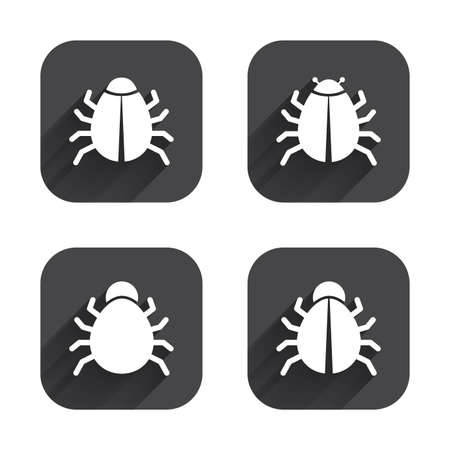 vaccination: Bugs vaccination icons. Virus software error sign symbols. Square flat buttons with long shadow.