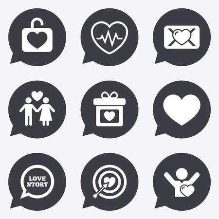 oath: Love, valentine day icons. Target with heart, oath letter and locker symbols. Couple lovers, heartbeat signs. Flat icons in speech bubble pointers.