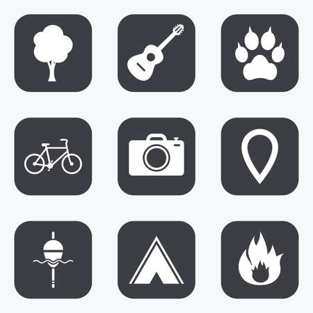 clutches: Tourism, camping icons. Fishing, fire and bike signs. Guitar music, photo camera and paw with clutches. Flat square buttons with rounded corners.