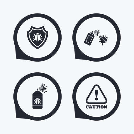 insanitary: Bug disinfection icons. Caution attention and shield symbols. Insect fumigation spray sign. Flat icon pointers.
