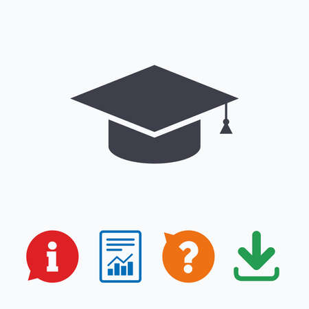 higher education: Graduation cap sign icon. Higher education symbol. Information think bubble, question mark, download and report.
