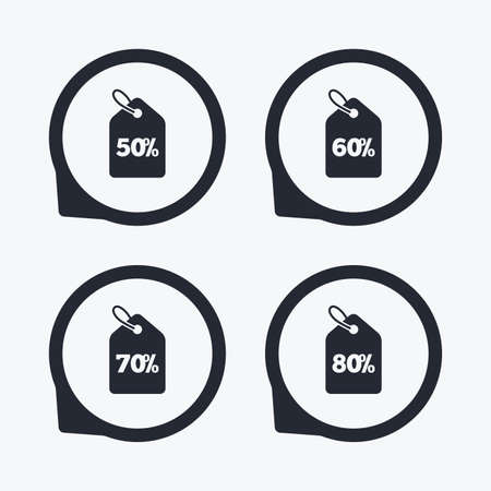 50 to 60: Sale price tag icons. Discount special offer symbols. 50%, 60%, 70% and 80% percent discount signs. Flat icon pointers.
