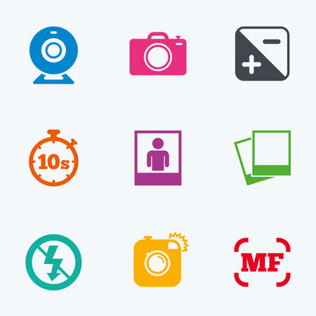 web camera: Photo, video icons. Web camera, photos and frame signs. No flash, timer and portrait symbols. Flat colored graphic icons.