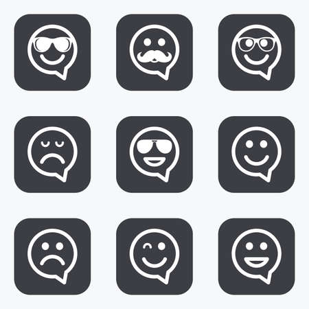 sorrowful: Smile speech bubbles icons. Happy, sad and wink faces signs. Sunglasses, mustache and laughing lol smiley symbols. Flat square buttons with rounded corners. Illustration