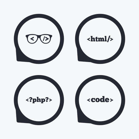 coder: Programmer coder glasses icon. HTML markup language and PHP programming language sign symbols. Flat icon pointers. Illustration