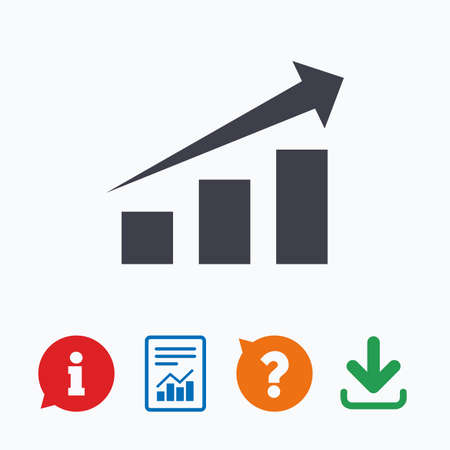 quality questions: Chart with arrow sign icon. Success diagram symbol. Statistics. Information think bubble, question mark, download and report.