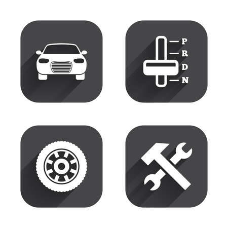 automatic transmission: Transport icons. Car tachometer and automatic transmission symbols. Repair service tool with wheel sign. Square flat buttons with long shadow.
